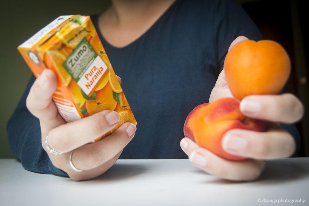 ¿La fruta entera o en zumo?